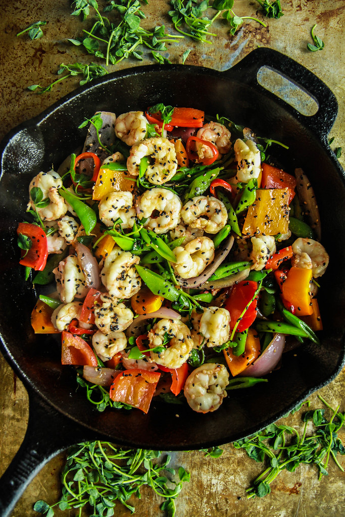 Paleo Shrimp Stir Fry from HeatherChristo.com