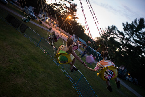 Girls Holding Hands on Ossipee Valley Fair Swing Ride | by goingslowly