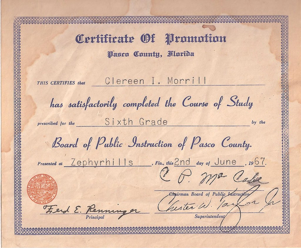 Sixth Grade Certificate Of Promotion Clereen Morrill 6th G Flickr