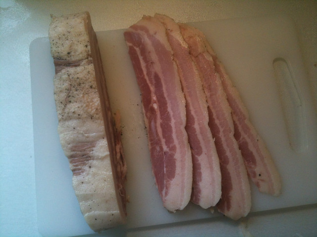 Homemade bacon, ready for the pan.