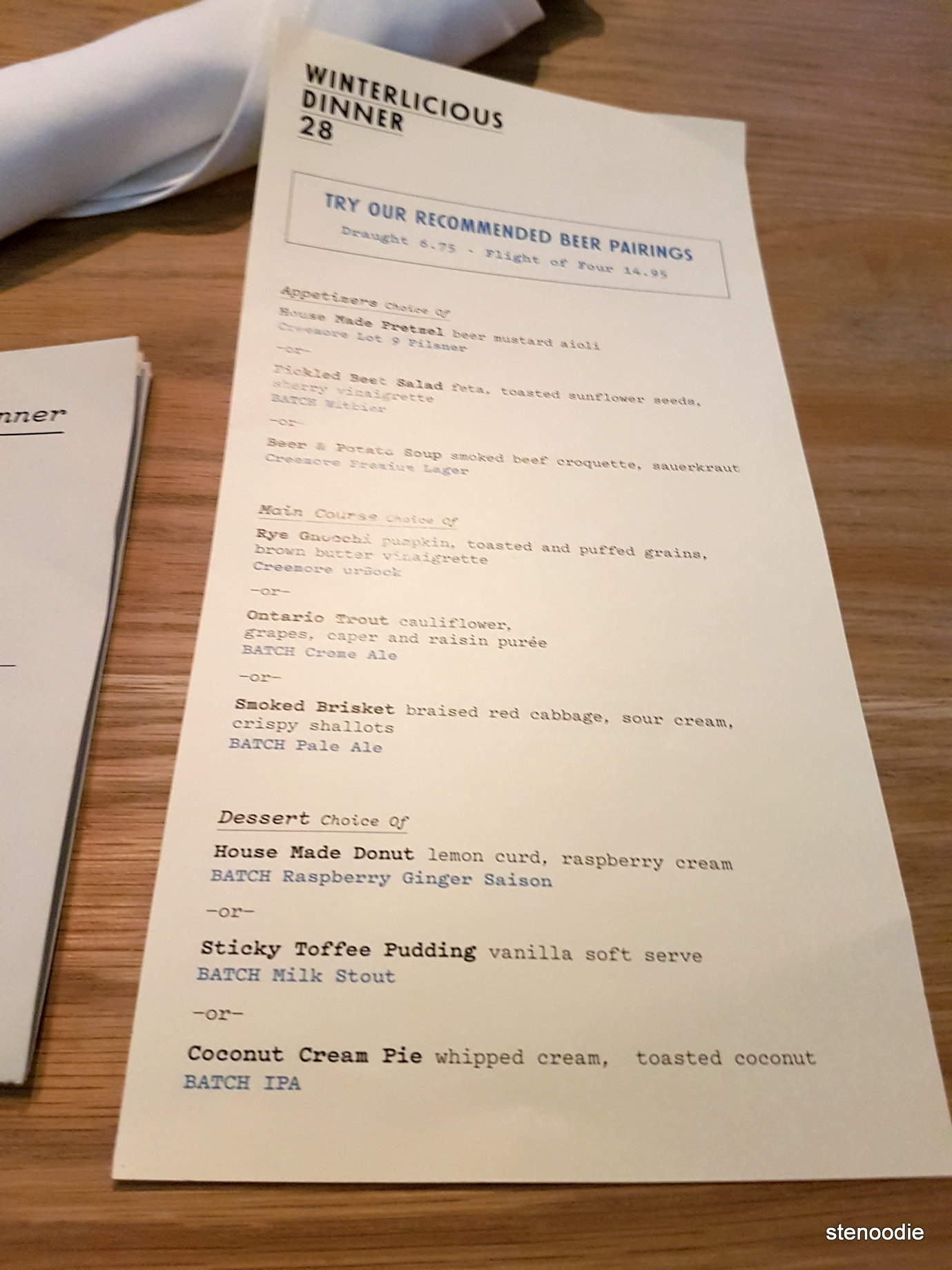 Batch Winterlicious menu February 2017