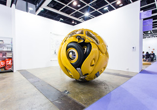 """Ichwan Noor (b. 1963): Beetle Sphere, 2013 (Aluminium, polyester, real parts from VW beetle '53, paint)"" / Art:1 by Mondecor Gallery / Art Basel Hong Kong 2013 / SML.20130523.6D.14135 — Explored 