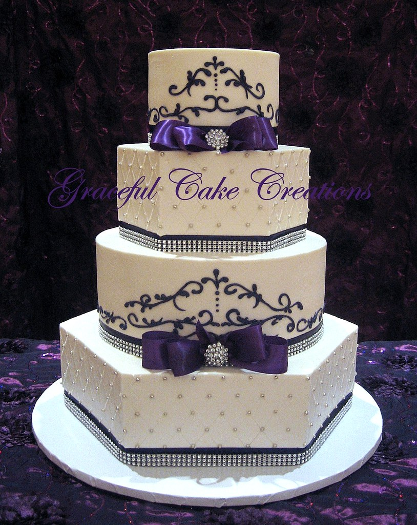 Elegant White and Purple Wedding Cake | Grace Tari | Flickr