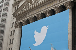 A Twitter Banner Draped Over The New York Stock Exchange For Twitter's IPO | by Anthony Quintano