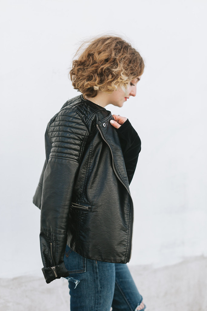 Vegan Leather jacket draped shot by Lena Mirisola on juliettelaura.blogspot.com