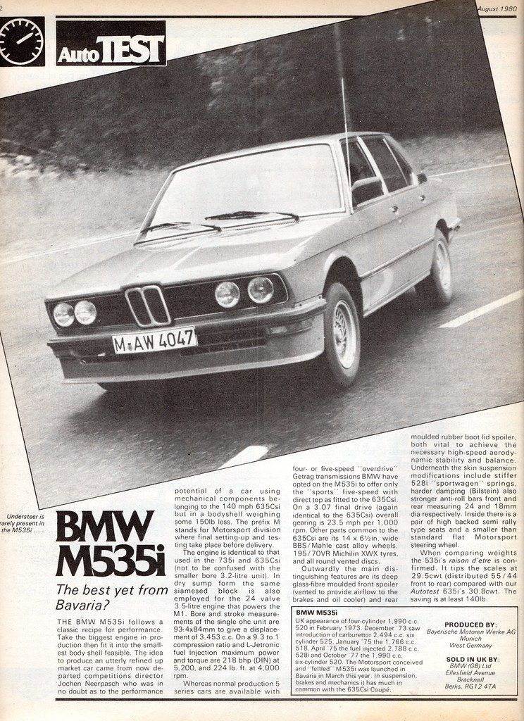 BMW M535i E12 Road Test 1980 | Flickr