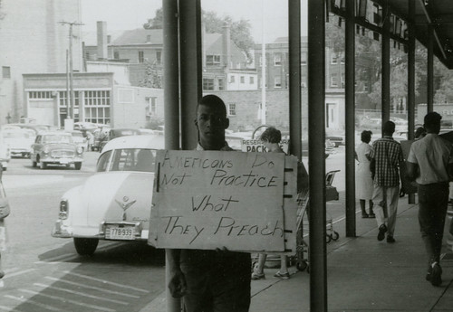 Americans Do Not Practice What They Preach: Protester outside Safeway, Farmville Shopping Center, August 1963 | by VCU Libraries Freedom Now Project