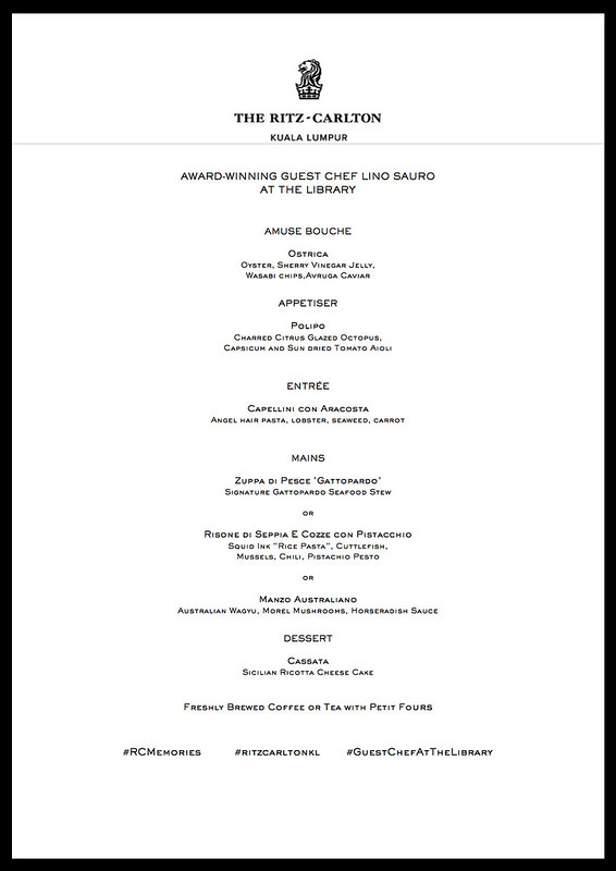 Menu - Executive Guest Chef Lino Sauro at The Library