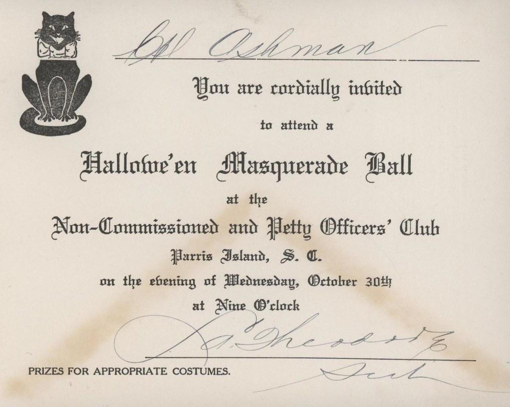 Division Invitation Halloween Masquerade Ball 1935