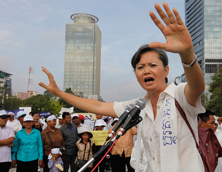 Cambodian opposition politician Mu Sochua speaks during a gathering in Phnom Penh, Cambodia