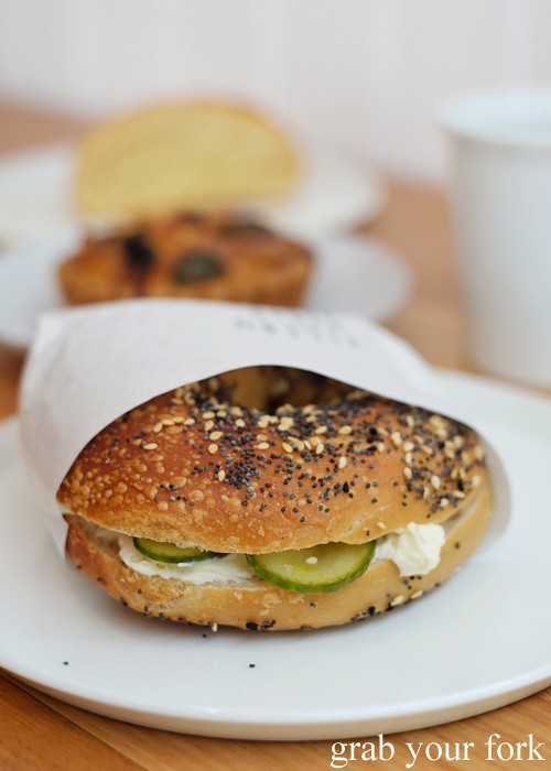 Bagel with cream cheese and pickles at Pigeon Whole Bakers in Hobart Tasmania