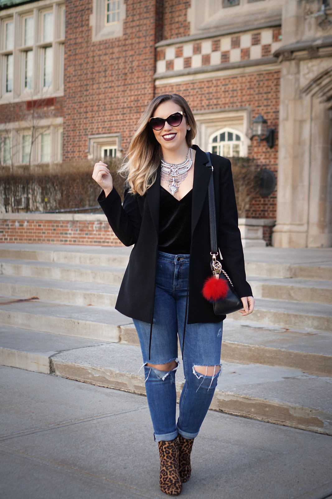 Oversized Black Blazer and Velvet Tank Top