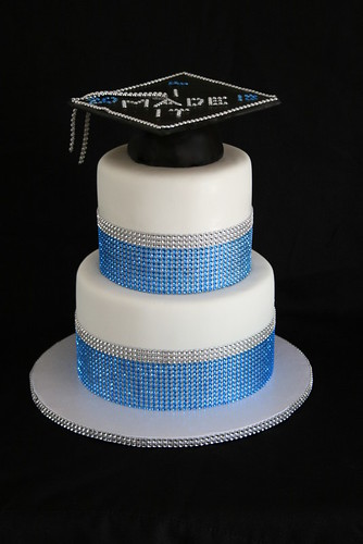 Graduation Cake Blue Black And Silver Sweet Tooth Cakes