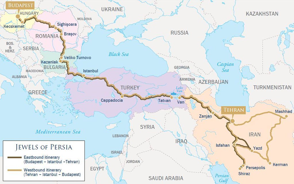 Golden eagle danube express jewels of persia map the luxur flickr golden eagle danube express jewels of persia map by train chartering private rail cars gumiabroncs Choice Image
