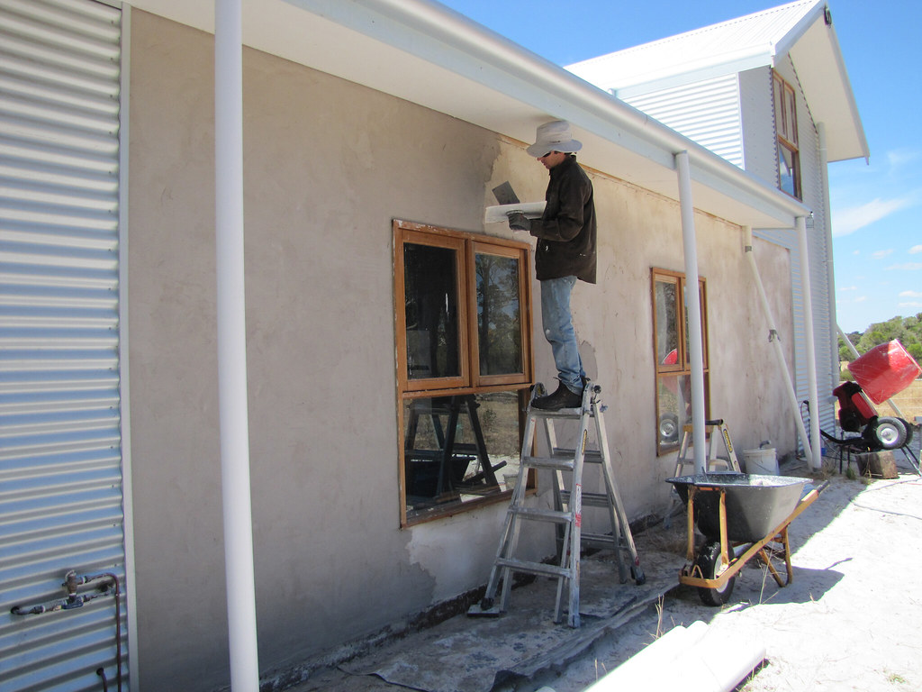 ... Final Lime Plaster Coat On Exterior South Wall   Strawbale House Build  In Redmond Western Australia