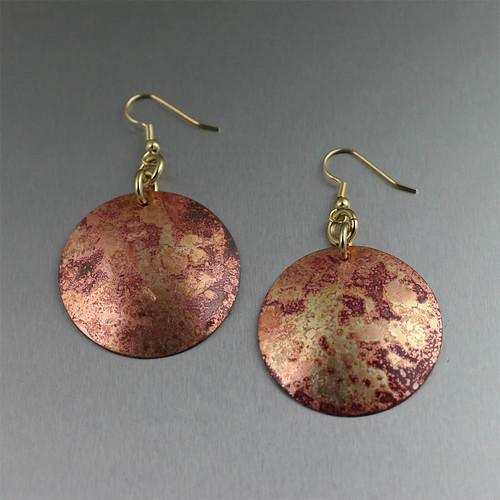 Red Patinated Copper Disc Earrings | by johnsbrana