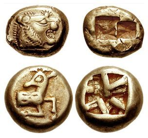 Electrum coins from Lydia, 6th century