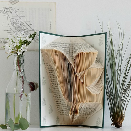 Altered Book with Folded Paper Bird