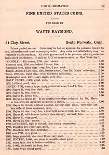 Wayte Raymond Numismatist ad Feb 1908 p. 63