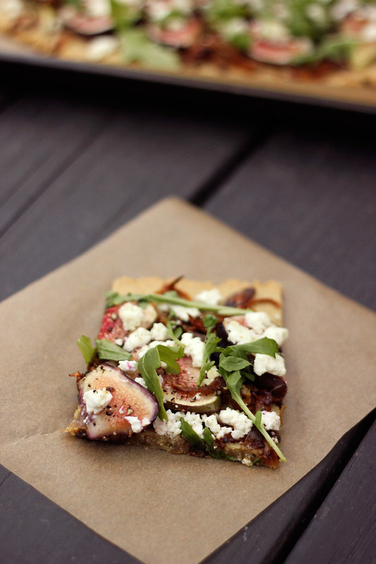 Grain-free Flatbread with Figs, Caramelized Shallots, Goat Cheese and Arugula (Gluten-free with vegan options)