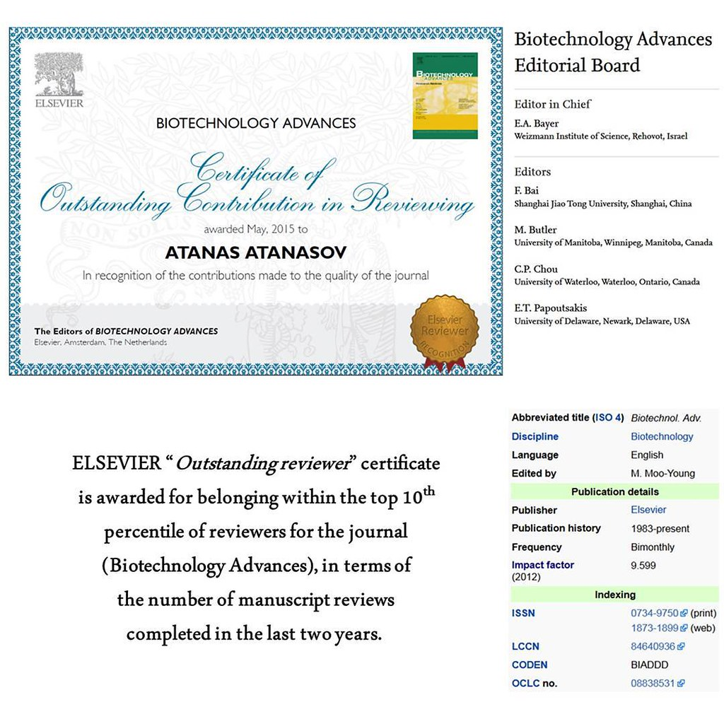Biotechnology Advances Outstanding Reviewer Certificate Flickr