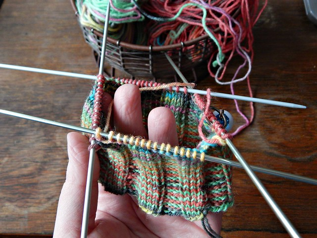 полосатый носок - резинка | striped sock, ribbing