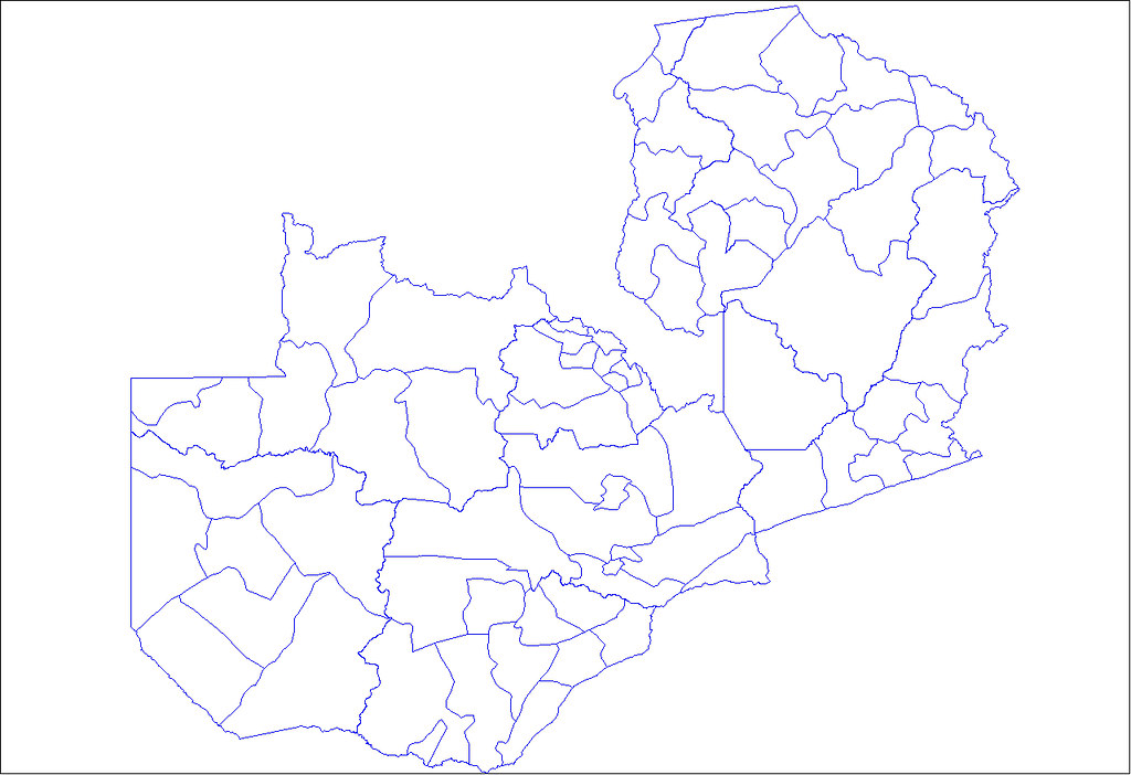 Map of Zambia with district boundaries The source is comm Flickr