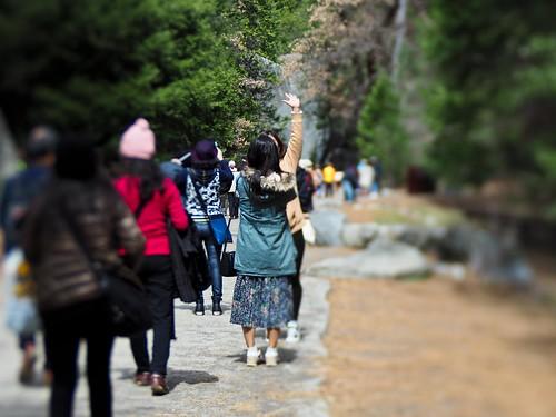 Tourists at Yosemite Falls