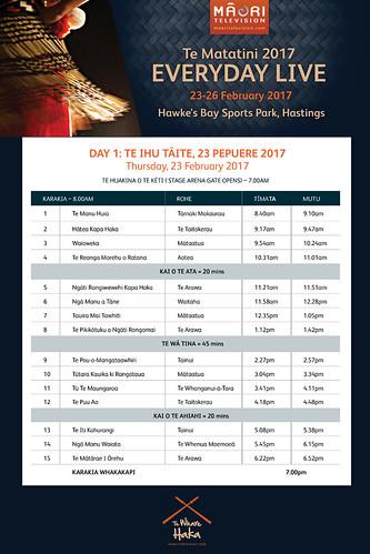 Te Matatini Timetable 2017, Day 1 @maoritv