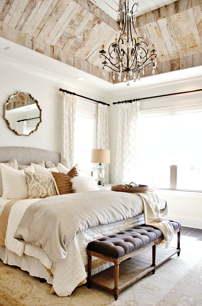 Farmhouse Bedroom Decor | Neutral bedding, Antique Chandelier, Wood Plank Ceiling