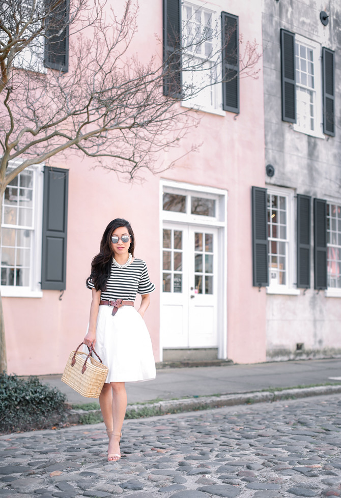 charleston spring uniqlo a line skirt petite fashion blog
