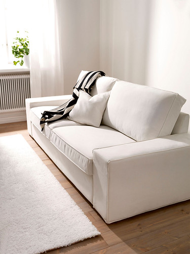 Ikea kivik 3 seater sofa cover white slipcover white for Sofa kivik 3 plazas
