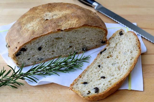 No-knead Rosemary Black Olive Loaf | www.rachelphipps.com @rachelphipps