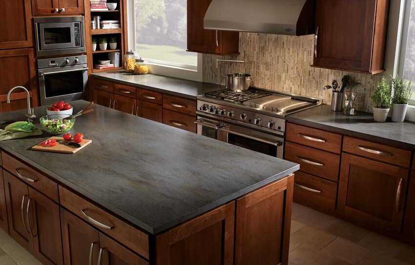 ... Custom Kitchen Island With Corian Countertop In Charcoal Grey With   By  Phoenix Kitchen Remodeling