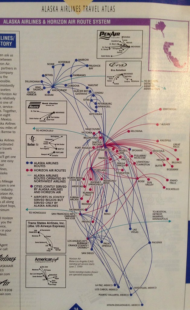 Alaska and Horizon route map, June 1999 | Back when Alaska o… | Flickr