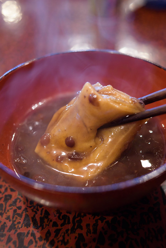 "Sweet red-bean soup""Oshiruko"" with ""Tochi-mochi""( Japanese-horse-chestnut mochi)"