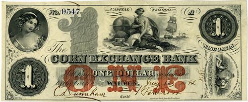 Corn Exchange Bank of Wisconsin $1 note