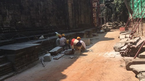 piles of rock inside of an angkor temple