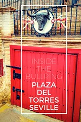 This is a entrance to the Seville Bullring for the bull's. There is a bulls head above the door and the red is a bright red colour