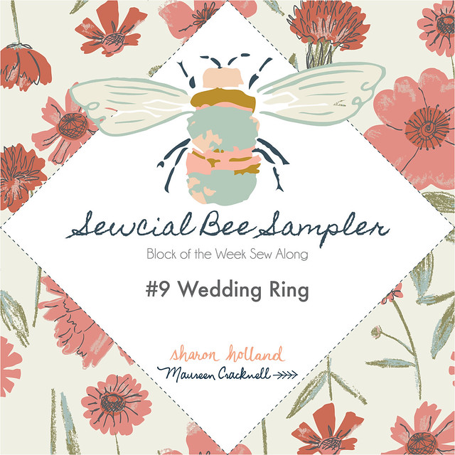 The Sewcial Bee Sampler Block No 9: Wedding Ring