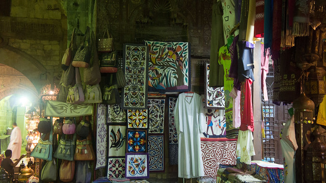 Textile bags and galabiyas in Khan El-Khalili