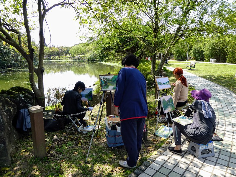Art class in progress in Daan Park, Taipei