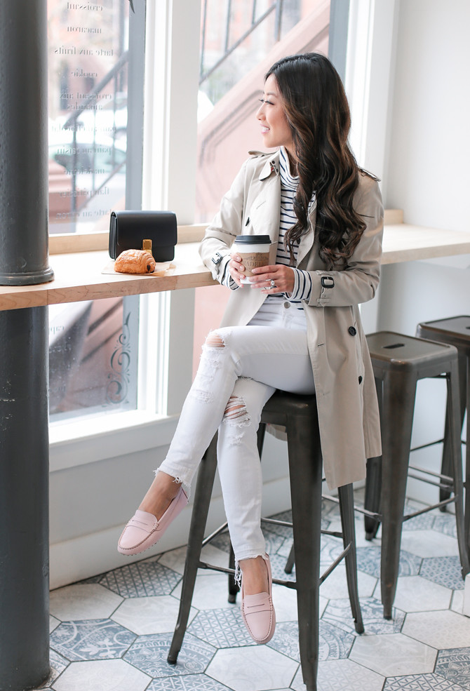 spring fashion trench coat stripes flats loafers outfit