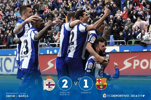 La Liga (Jornada 27): Deportivo de La Coruña 2 - FC Barcelona 1