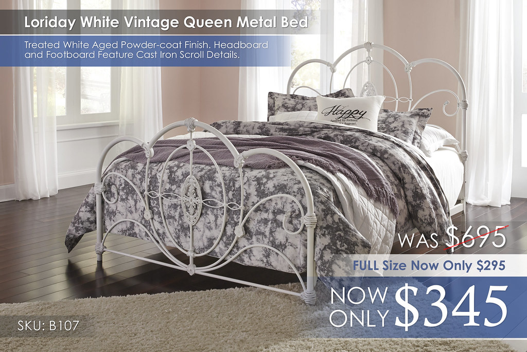 Queen Loriday White Vintage Metal Bed B107-81