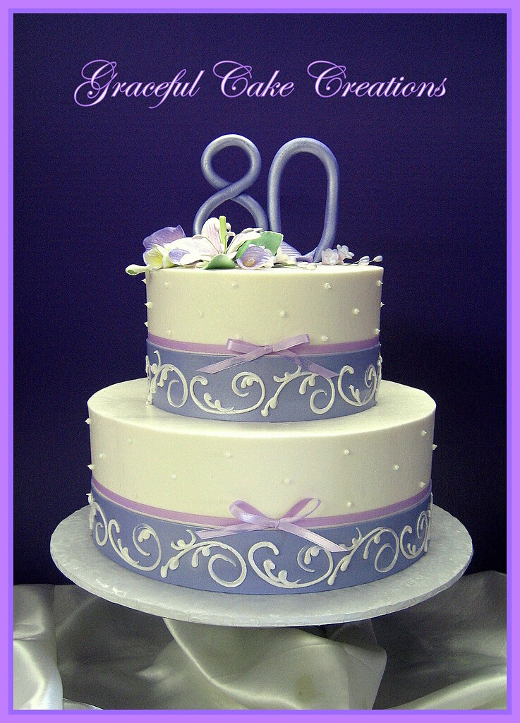 Elegant 80th Birthday Cake With Purple And Lavender Flickr