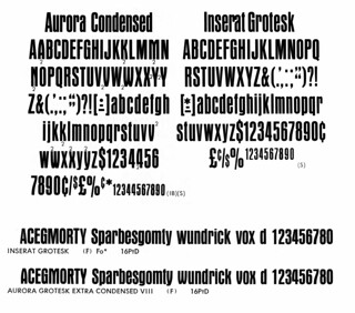 Aurora Grotesk and Inserat Grotesk in film and metal | by Stewf