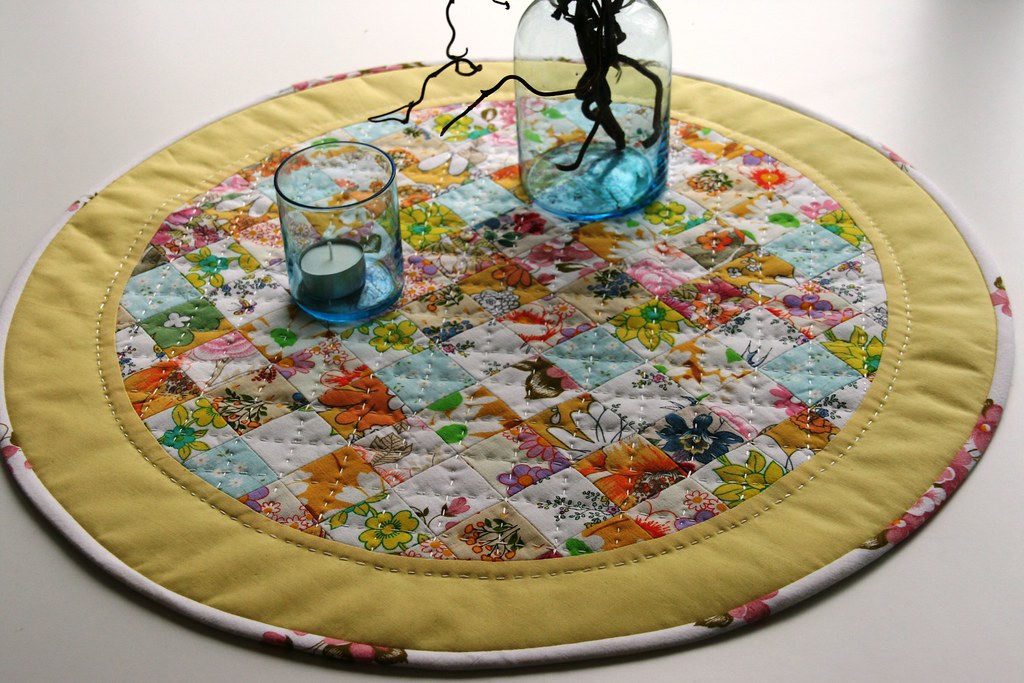 ... Round Table Runner/table Topper/table Mat Hand Quilted | By Ompompali  Claudia
