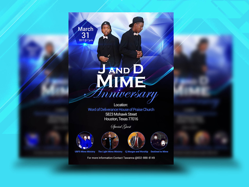 j and d mime anniversery church flyer by church flyers amelia