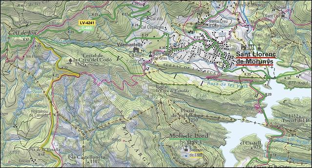 La Vall de Lord - Acceso -01- Ubuicación de la Creu del Codó y la Mola de Lord